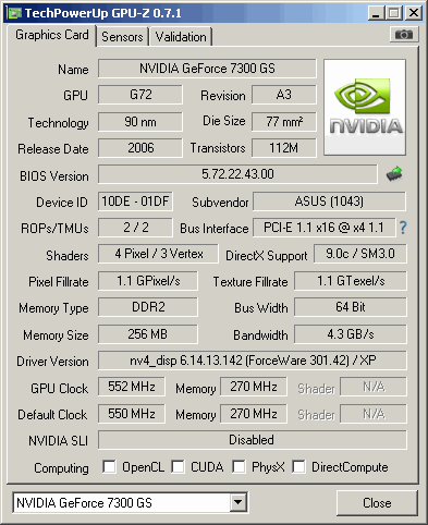 Nvidia geforce 7300 gs driver for xp.